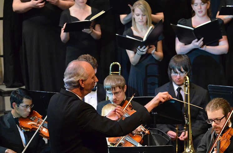 Monte Atkinson and the concert choir and symphony orchestra