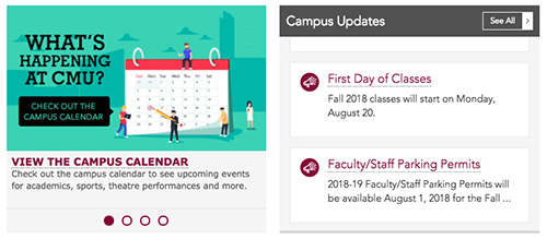 Screenshot of Campus Promos and Updates in the Dashboard