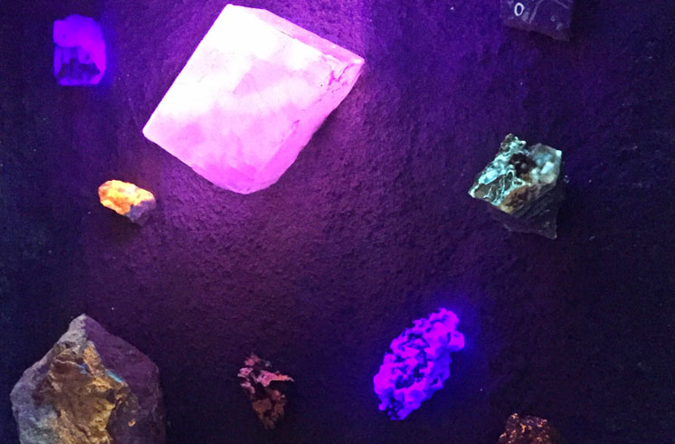 Fluorescent minerals on the wall of the new mine tunnel exhibit at Eureka! Science Museum.