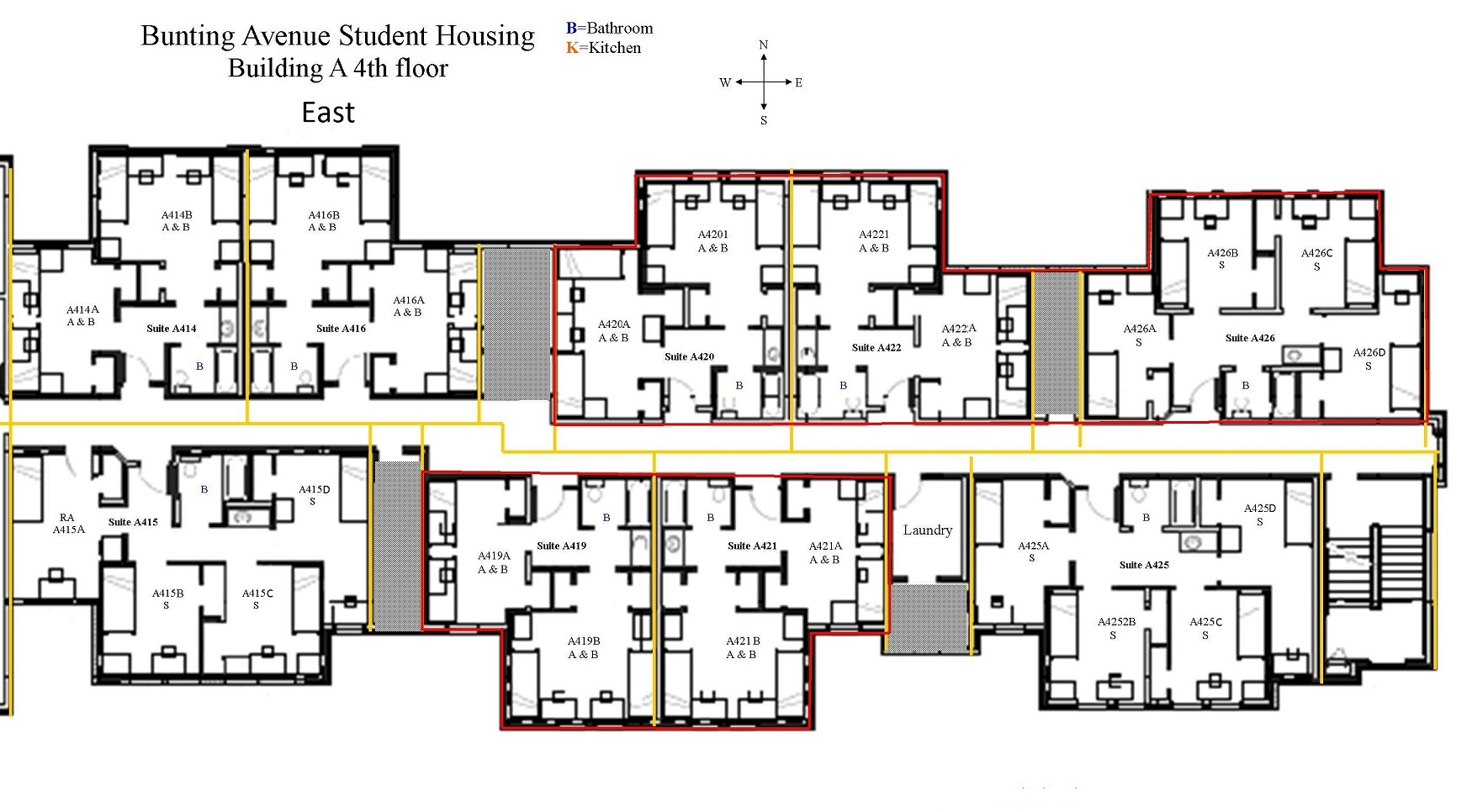 Lofted Dorm Beds Layout