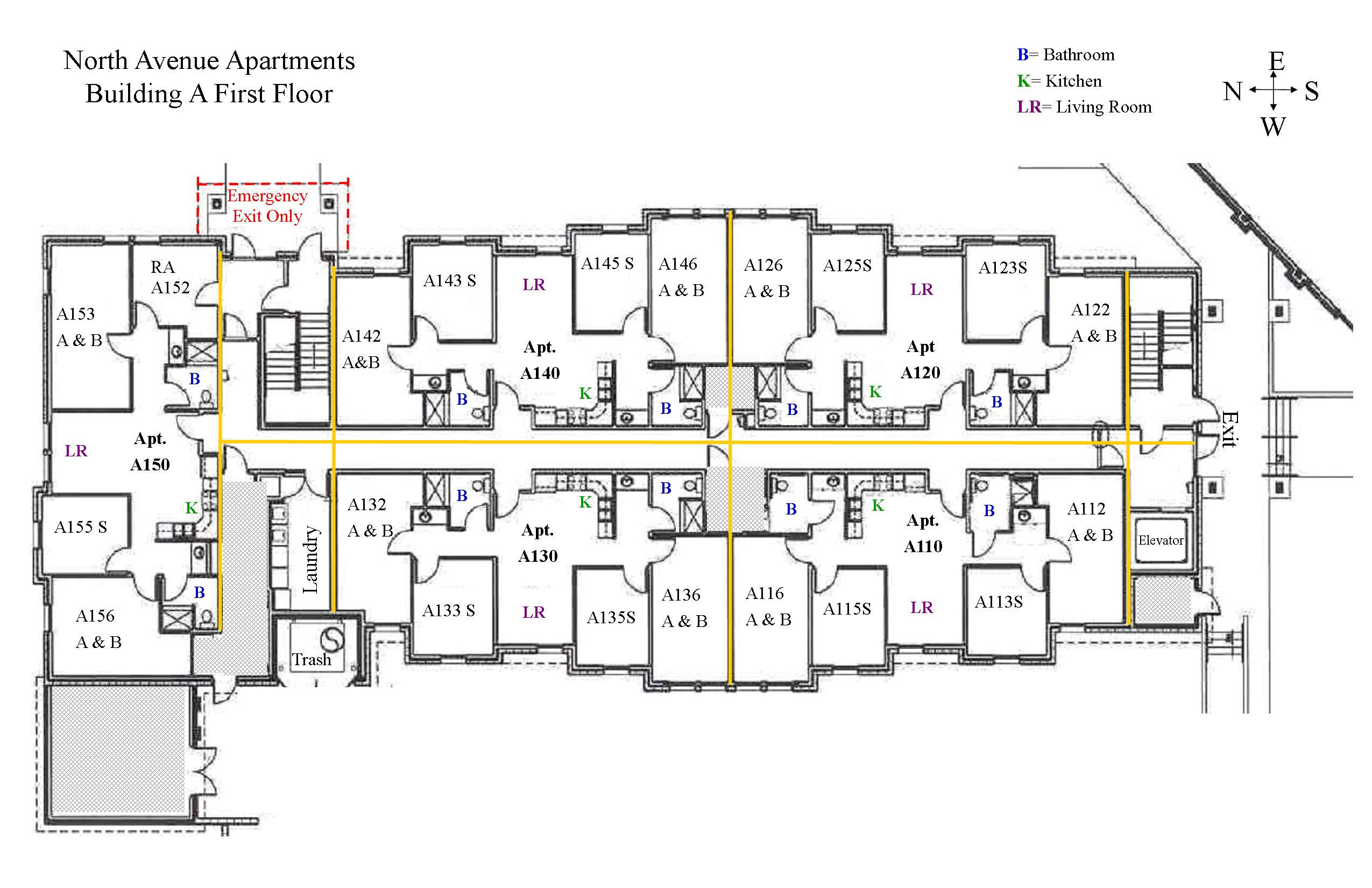 North avenue hall colorado mesa university for Small apartment layout plans